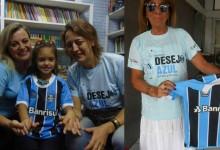 Gabriela faz acompanhamento na APAE de Encantado. Para que a camiseta do Rei de Copas chegasse a ela foram convocadas as voluntária Elen Vargas de Porto Alegre e Ester Andraschko que entregou em mãos para a menina num momento muito especial.