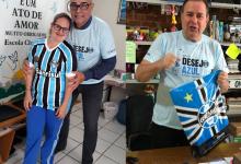 Charlote mora em Brusque Santa Catarina. Seu desejo era ganhar uma camiseta oficial do Grêmio, seu time do coração. Mesmo de longe acompanha e torce muito pelo tricolor . E com a colaboração dos voluntários Eduardo Giez Estima que enviou de Porto Alegre o presentão pelo Correios e do voluntário Luis Humberto Padula , Charlote veste hoje com o orgulho o manto tricolor.